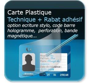 Carte de fidelité Carte de fidelité plastique + zone écriture stylo + rabat plastique adhésif