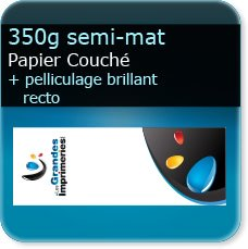 Marque pages 350g mat + pelliculage brillant recto