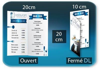 menu restaurant fast food Menu restaurant 2 volets  - DL 10 X 20 Cm fermé - carré 20x20 Cm ouvert - 1 pli (rainage) - Impression recto verso
