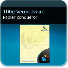 1000 en tete 100g Conquéror Vergé Ivoire - Compatible imprimante laser & jet d'encre