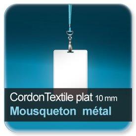 Badge Cordon pour badge en textile plat 10mm avec mousqueton métallique + clip de fermeture