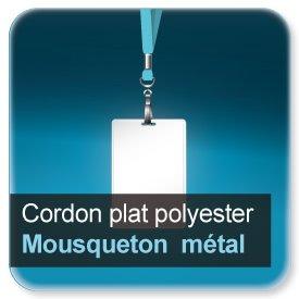 Badge Cordon pour badge en polyester avec mousqueton métallique