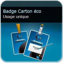 Badge plastique personnalisé Badge papier perforé rond + oblong en 250g mat non adhésif (compatible stylo & imprimante thermique)