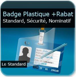 Badge Badge de sécurité plastique d'entreprise + zone écriture stylo + rabat plastique adhésif