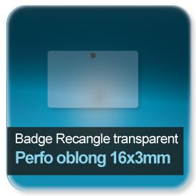 Badge Rectangle plastique transparent perforé rond de 5,5mm