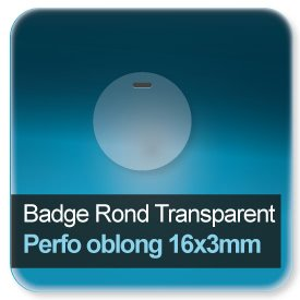 Badge Rond plastique transparent + perforé rond de 5,5mm
