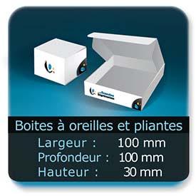Emballage (Coffret, Boîte, carton, colis et etuis) Largeur de 100 mm - Profondeur 100 mm - Hauteur de 30 mm