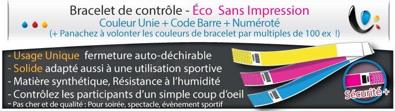Bracelet de controle Bracelet en couleur éco sans impression numéroté + code barre