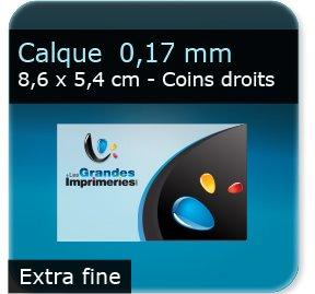Cartes de visite Polyester effet calque -  Extra Fine 0,14 mm  -  86 x 54 mm - coins droits