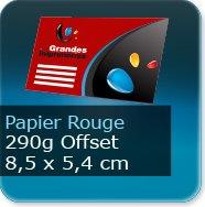 Cartes de visite Carte de visite papier rouge - 85 x 54 mm 290g offset