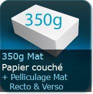 Cartes de visite 350g mat + pelliculage Mat Recto et Verso