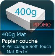 Cartes de visite 400g Mat Couché + Pelliculage Mat Soft Touch au Recto