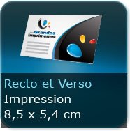 Cartes de visite Format 85 x 54 mm - Impression couleur Recto et Verso quadri
