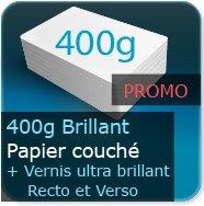 Cartes de visite 400g Brillant Couché + Vernis ultra-brillant au Recto et Verso