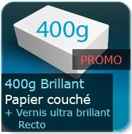 Cartes de visite 400g Brillant Couché + Vernis ultra-brillant au Recto