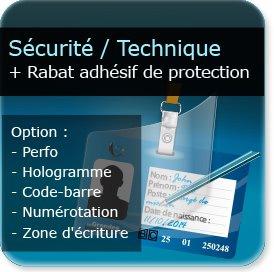 Cartes de visite Carte plastique de sécurité + rabat plastique adhésif