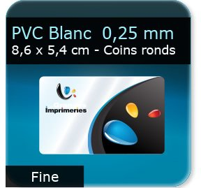 Cartes de visite Carte plastique PVC blanc satimat  -  souple 0,25 mm  -  86 x 54 mm - coins ronds