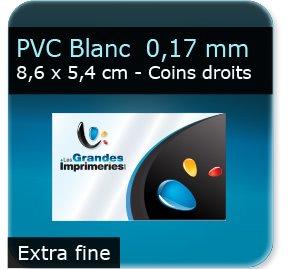 Cartes de visite Carte plastique polyester blanc  -  Extra fine  0,14 mm  -  compatible stylo bille  -  86 x 54 mm - coins droits