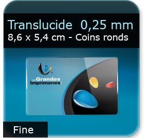 Cartes de visite Carte plastique translucide -  souple 0,25 mm  -  86 x 54 mm - coins ronds
