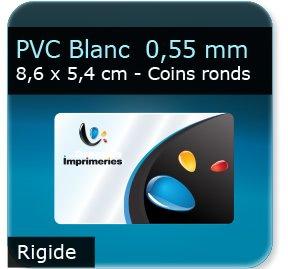 Cartes de visite PVC Blanc - Vernis Satiné - rigide 0,55 mm - 8,6 x 5,4 cm