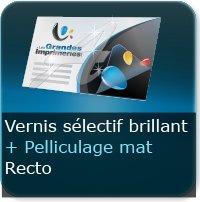 Cartes de visite Vernis Sélectif brillant au Recto + Pelliculage Mat Au recto