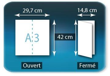 Dépliants / Plaquettes Ouvert A3  29,7 x 42 cm - Fermé 14,8 X 42 cm