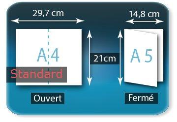 Dépliants / Plaquettes Ouvert A4  21 x 29,7 cm - Fermé A5  14,8 X 21 cm