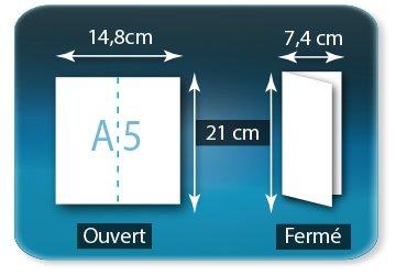 Dépliants / Plaquettes Ouvert A5  14,8 x 21 cm - Fermé 7,4 X 21 cm