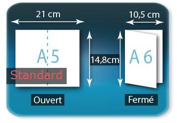 Dépliants / Plaquettes Ouvert A5  14,8 x 21 cm - Fermé A6  10,5 X 14,8 cm