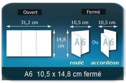 Dépliants / Plaquettes Ouvert 14,8 x 31,2 cm - Fermé A6  10,5 x 14,8 cm