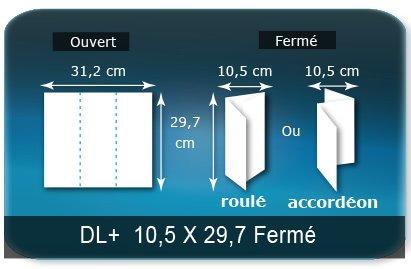 Dépliants / Plaquettes Ouvert 29,7 x 31,2 cm - Fermé 10,5 x 29,7 cm