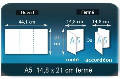 Dépliants / Plaquettes Ouvert 21 x 44 cm - Fermé A5  14,8 x 21 cm
