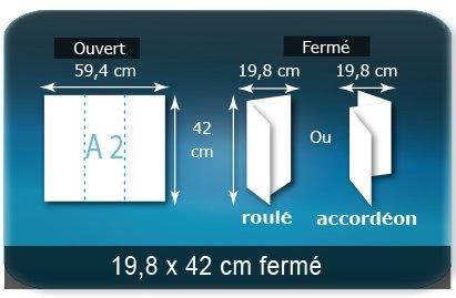 Dépliants / Plaquettes Ouvert A2  42 x 59,4 cm - Fermé 19,8 x 42 cm