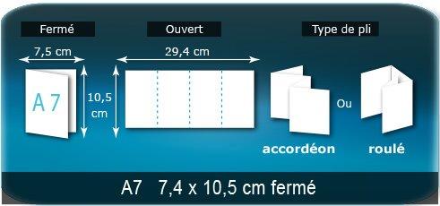 Dépliants / Plaquettes Ouvert 10,5 x 29,4 cm - Fermé A7  7,5 x 10,5 cm