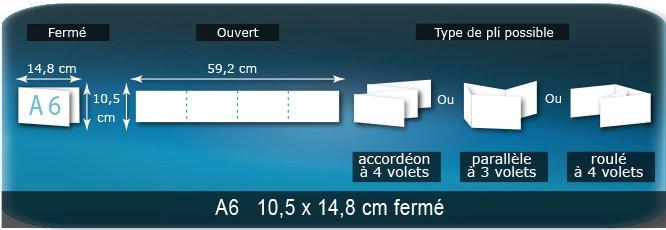 Dépliants / Plaquettes Ouvert 10,5 x 59,2 cm - Fermé A6  10,5 x 14,8 cm