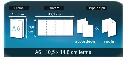 Dépliants / Plaquettes Ouvert 14,8 x 42,2 cm - Fermé A6  10,5 x 14,8 cm