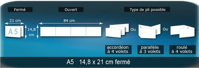 Dépliants / Plaquettes Ouvert 14,8 x 84 cm - Fermé A5  14,8 x 21 cm