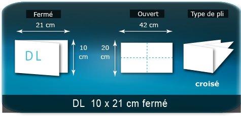 Dépliants / Plaquettes Ouvert 20 x 42 cm - Fermé DL  10 x 21 cm