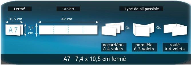 Dépliants / Plaquettes Ouvert 7,4 x 42 cm - Fermé A7  7,4 x 10,5 cm