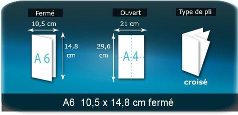 Dépliants / Plaquettes Ouvert A4  21 x 29,7 cm - Fermé A6  10,5 x 14,8 cm