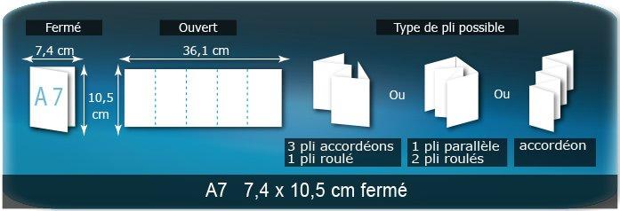 Dépliants / Plaquettes Ouvert 10,5 x 37 cm - Fermé A7  7,4 x 10,5 cm