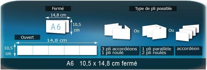 Dépliants / Plaquettes Ouvert 10,5 x 74 cm - Fermé A6  10,5 x 14,8 cm