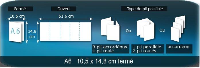 Dépliants / Plaquettes Ouvert 14,8 x 52,5 cm - Fermé A6  10,5 x 14,8 cm