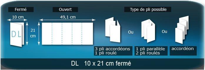 Dépliants / Plaquettes Ouvert 21 x 49 cm - Fermé DL  10 x 21 cm