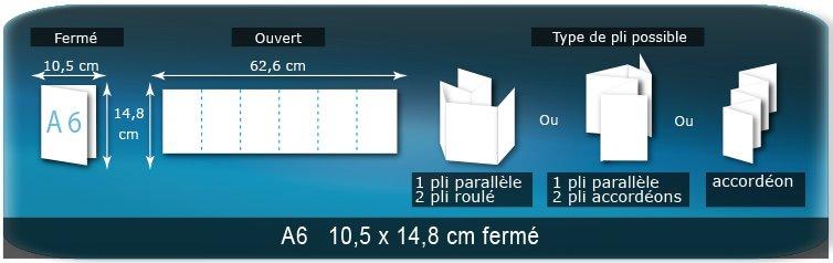 Dépliants / Plaquettes Ouvert 14,8 x 63 cm - Fermé A6  10,5 x 14,8 cm