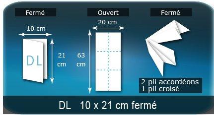 Dépliants / Plaquettes Ouvert 20 x 63 cm - Fermé DL  10 x 21 cm