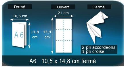 Dépliants / Plaquettes Ouvert 21 x 44,4 cm - Fermé A6  10,5 x 14,8 cm