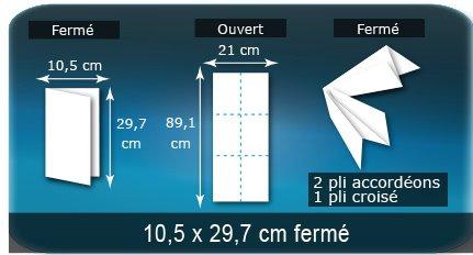 Dépliants / Plaquettes Ouvert 21 x 89,1 cm - Fermé 10,5 x 29,7 cm
