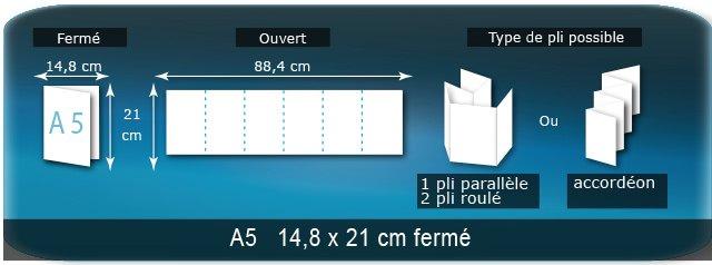 Dépliants / Plaquettes Ouvert 21 x 88,8 cm - Fermé A5  14,8 x 21 cm