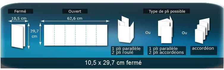 Dépliants / Plaquettes Ouvert 29,7 x 63 cm - Fermé 10,5 x 29,7 cm